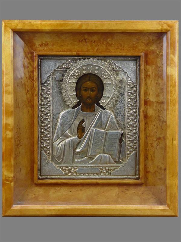 Икона вкиоте «Господь Вседержитель», дерево, левкас, темпера, оклад— серебро 84пробы, золочение, XIXв., размер иконы: 27×22см