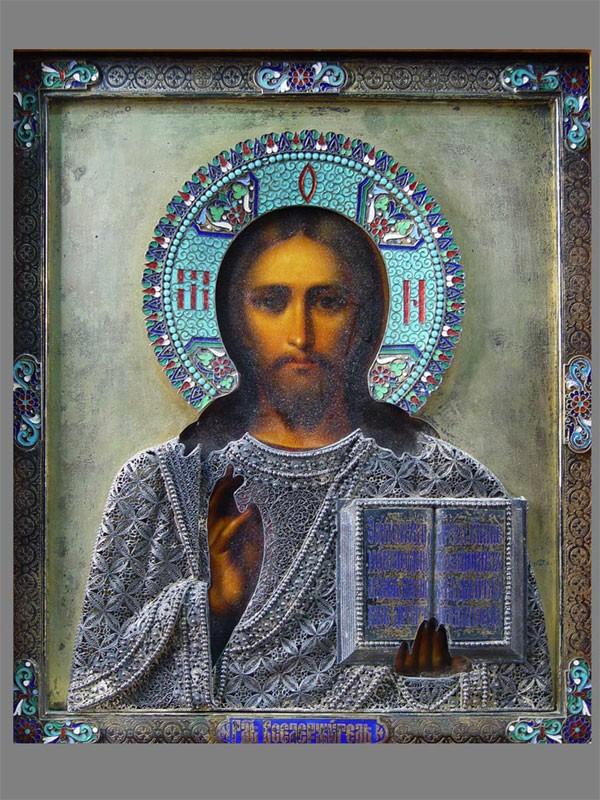 Икона «Господь Вседержитель», дерево, масло. Оклад серебро 84пробы, эмаль, скань, 31×26,5см; киот