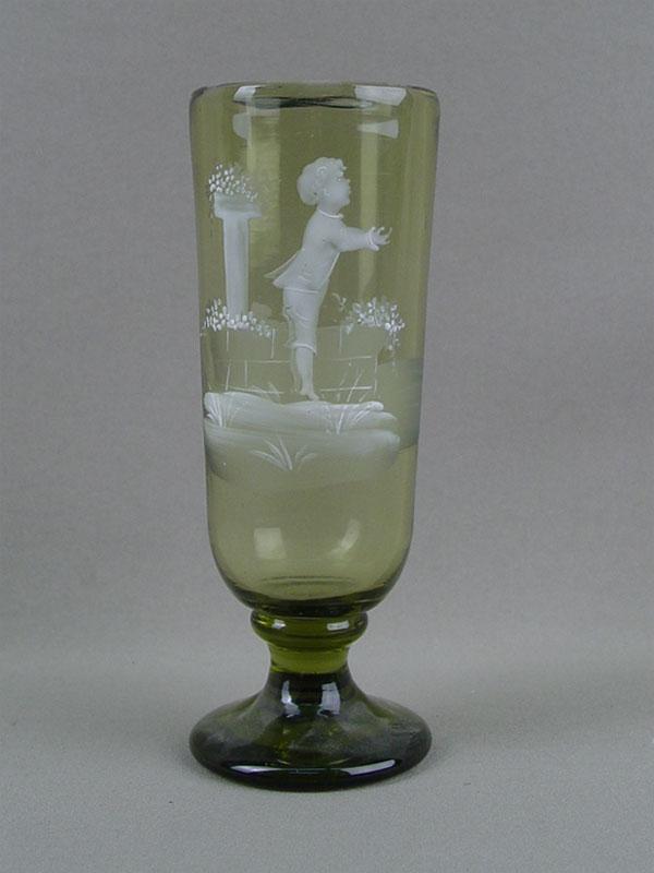 Бокал, стекло, ропись эмалью «Мальчик», высота— 17см