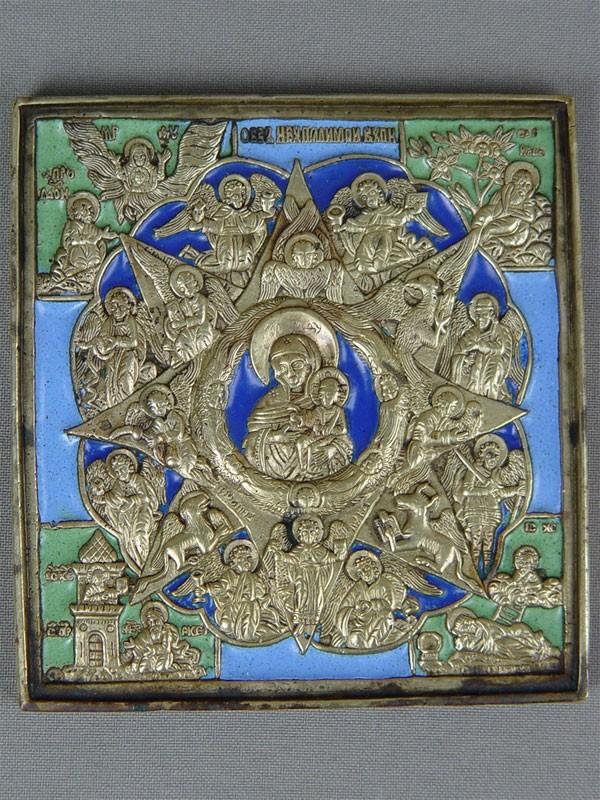 «Пресвятая Богородица Неопалимая Купина», медное литье, эмаль, 10×9,5см