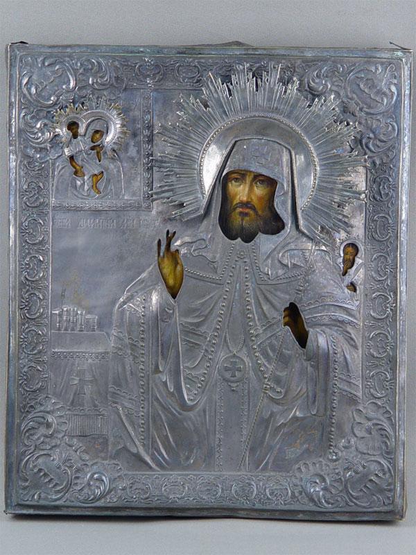 Икона «Святой Димитрий, Митрополит Ростовский», дерево, масло, XIXв; оклад латунь, посеребрение 35×30см