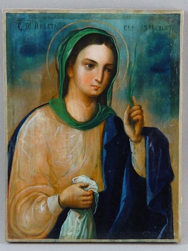 Икона «Святая Анастасия Узорешительница», дерево, масло, XIXв., 25,5×19,5см