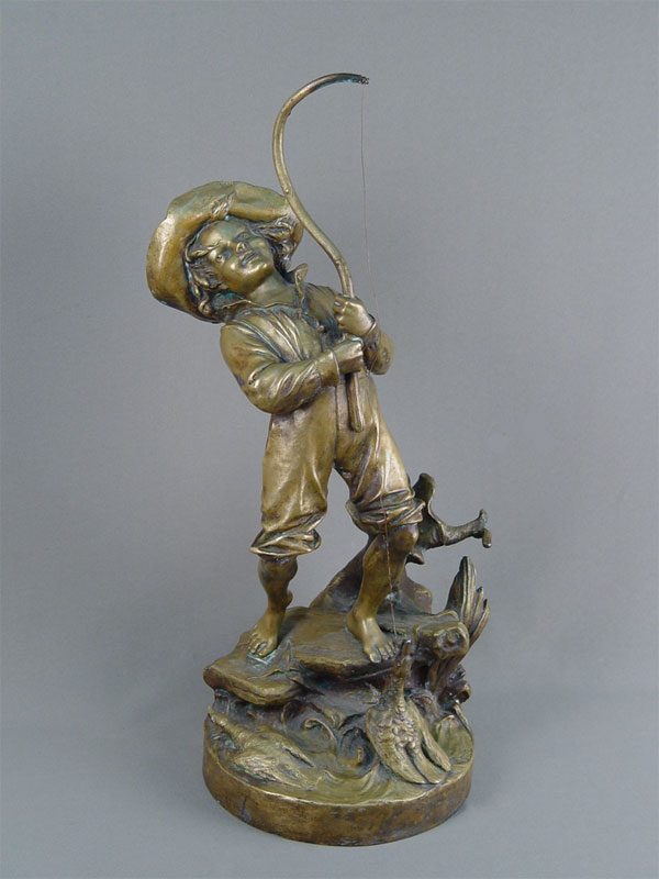 Скульптура «Рыбак», бронза, литье. Западная Европа, конец XIX— начало XXвека, авт. E.Tassel, высота— 46см