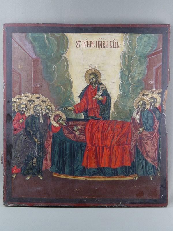 Икона «Успение Пресвятой Богородицы», дерево, левкас, темпера, XVIIIвек, размер: 56,5×51см