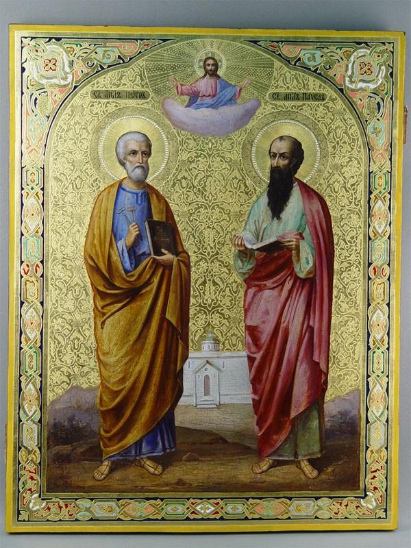 Икона «Святые апостолы Петр иПавел», дерево, левкас, темпера, XIXвек, размер: 67×53см