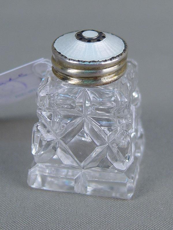 Солонка, хрусталь, серебро 925пробы, эмаль, высота— 4,5см