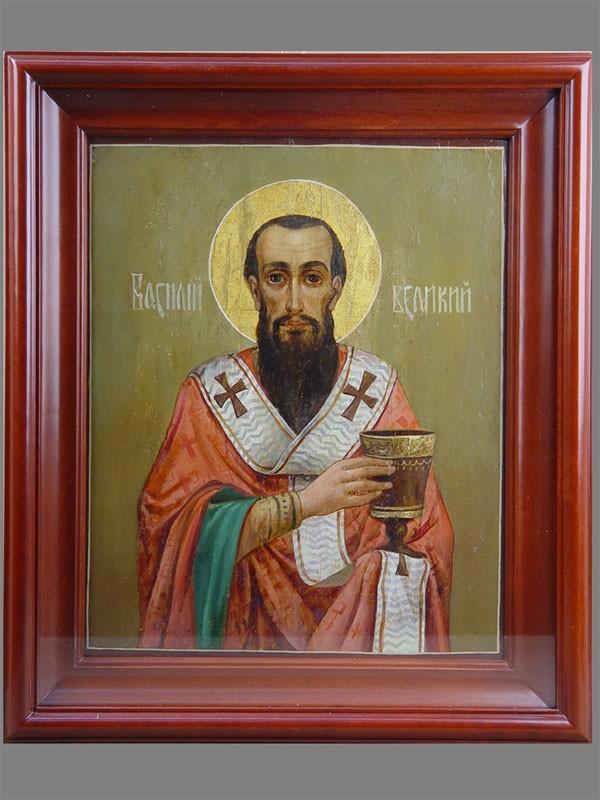 «Святой Василий Великий», дерево, масло, начало XXвека, стиль модерн, 32×26см; киот
