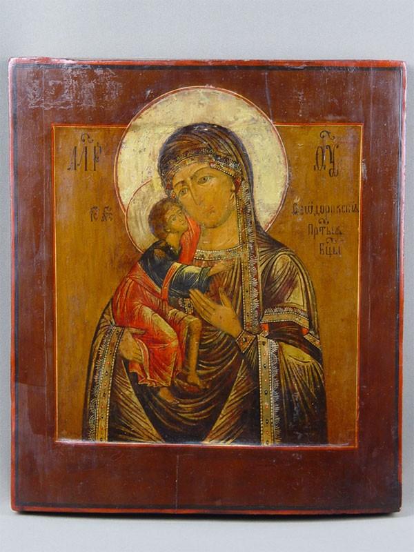 Икона «Пресвятая Богородица Федоровская», дерево, левкас, темпера, размер: 35,5×31см