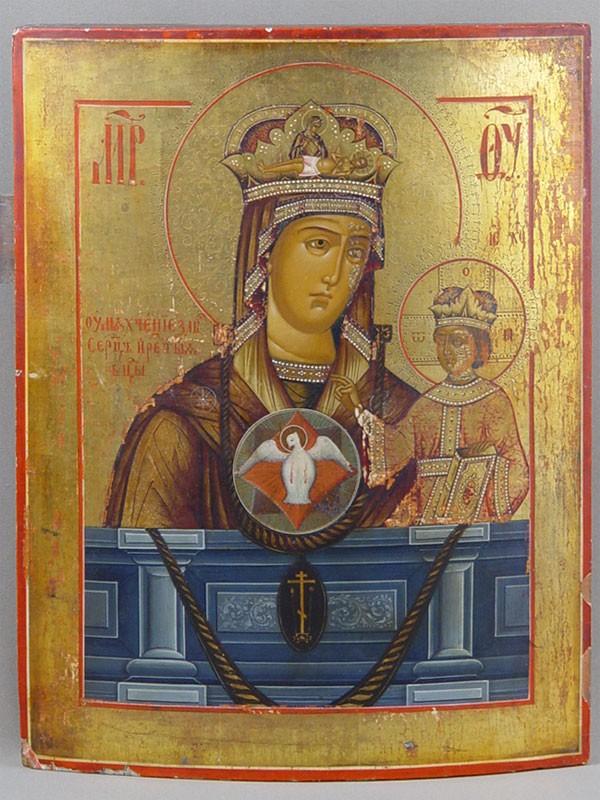 «Пресвятая Богородица Умягчение Злых Сердец», дерево, левкас, темпера, 37×29см, XIXв.