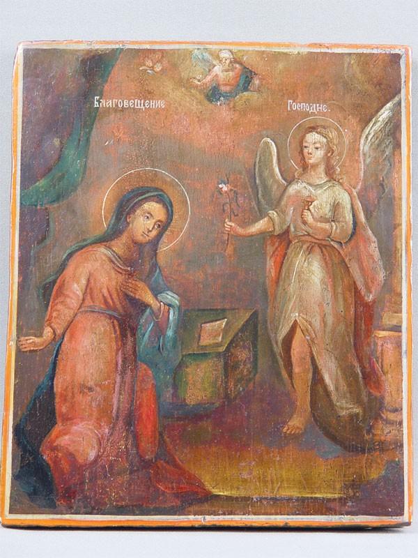 Икона «Благовещение Пресвятой Богородицы», дерево, левкас, темпера, размер: 27,5×23см