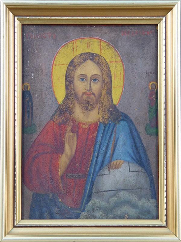 Антиквариат. Икона Господь Вседержитель, дерево, масло. рама