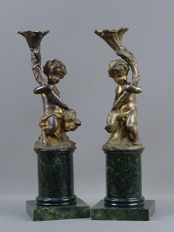 Антиквариат. подсвечник «Путти. рог изобилия», бронза, камень