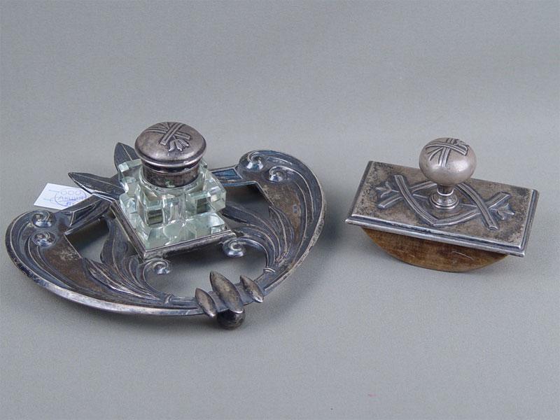 Письменный прибор (2предмета), серебро 84пробы, стекло, общий вес— 741г