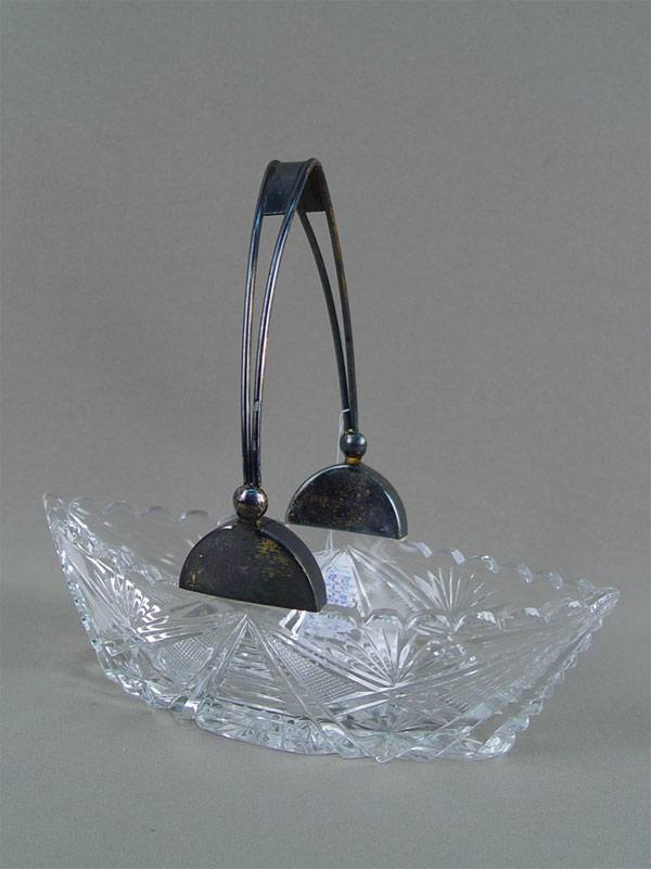 Конфетница «Ладья», серебро 875пробы, хрусталь, длина— 22см