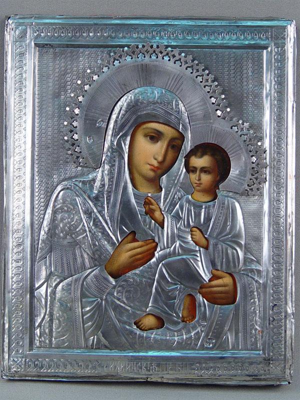 Икона «Пресвятая Богородица Тихвинская», дерево, левкас, темпера, оклад— серебро 84пробы, 22×18см