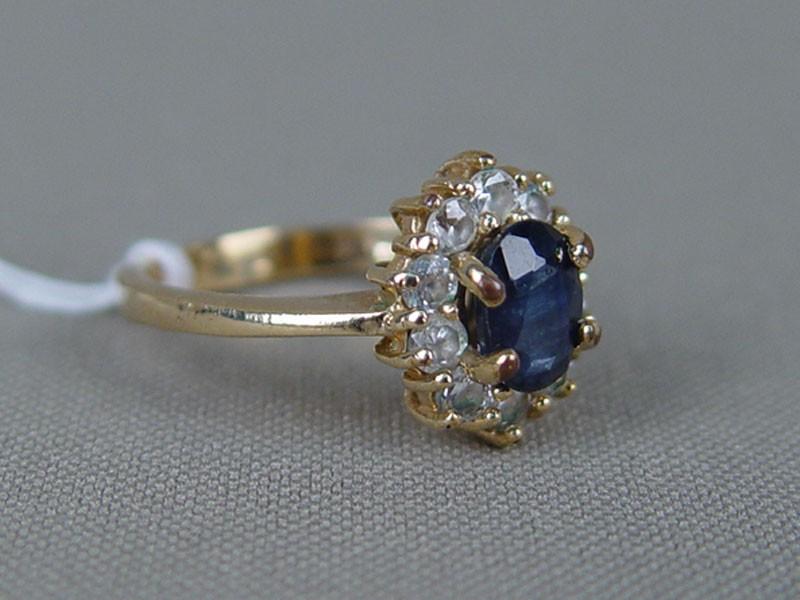 Кольцо, желтый металл, позолота, синий корунд природный, фианиты, размер кольца 17,0