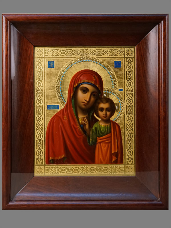 Венчальная пара вкиотах «Господь Вседержитель» и«Пресвятая Богородица Казанская», дерево, масло, позолота; начало XXвека, размер каждой иконы: 26,5×21см