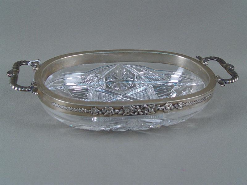 Конфетница, хрусталь, серебро 84пробы, 28×15см