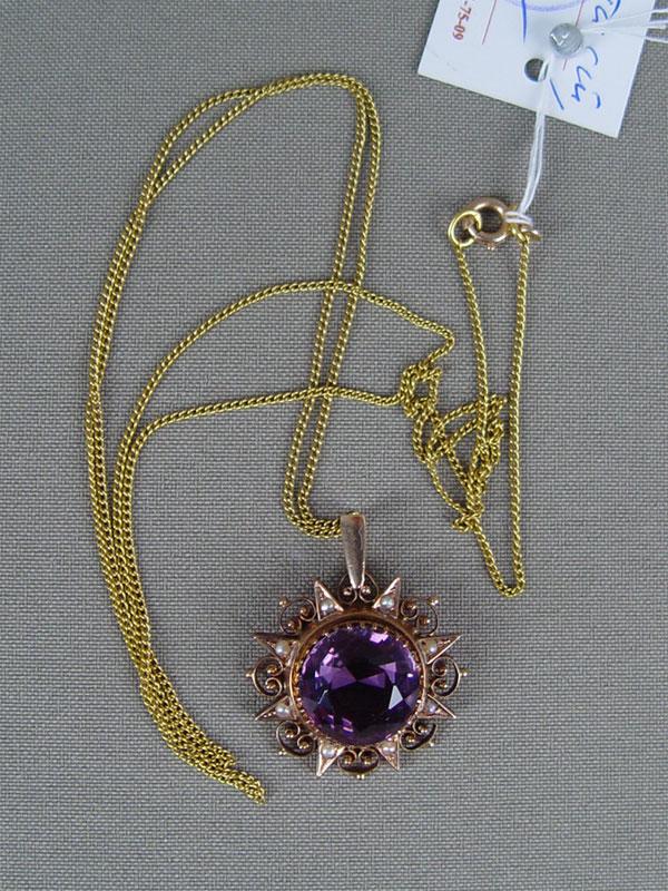 Подвеска сцепью «Звезда», золото 583пробы, общий вес— 7,3г, аметист, жемчуг