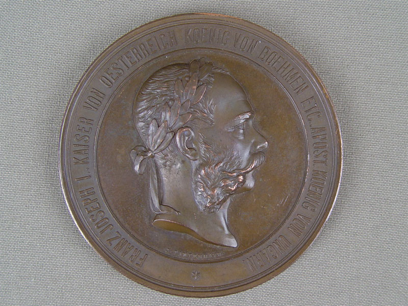 Антиквариат. антикварная медаль, настольная, Кайзер, Франц, Иосиф 1, Иосиф I, бронза, литье, 1873 год, 19 век,