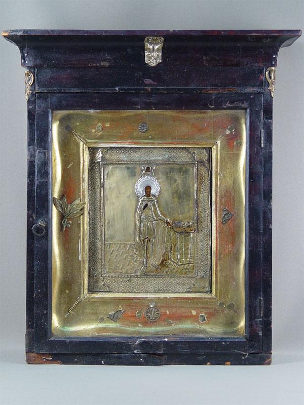 «Святой Александр Невский», дерево, левкас. Оклад латунь, венец серебро 84пробы, 25×21,5см; киот