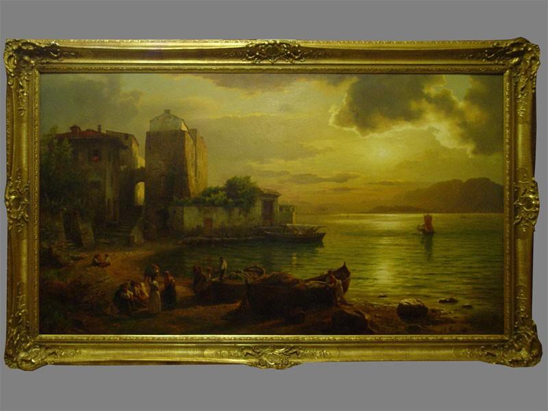 Леу Август Вильгельм (1819—1897), «Итальянский берег назаходе солнца», холст, масло. Германия, 1892год, размер: 94×161см. <i>Атрибуция ВХНРЦ им.И.Э.Грабаря</i>
