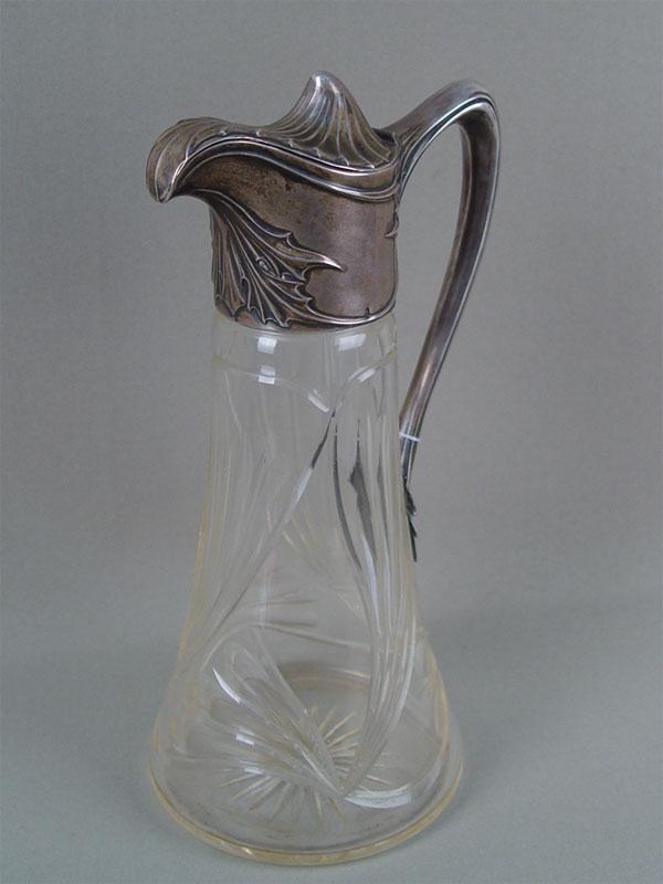 Кувшин встиле модерн, стекло, серебро 800(84) пробы, высота— 18см
