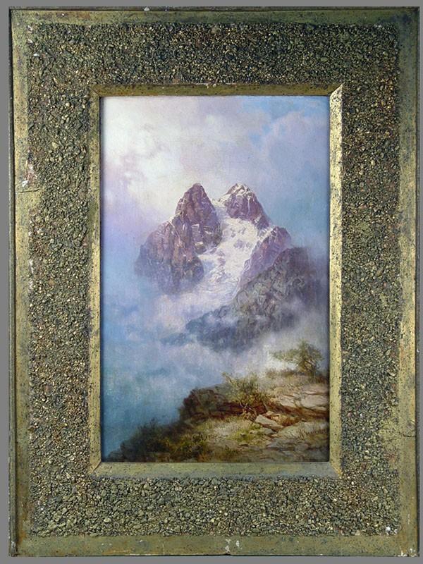 И.Н.Занковский(1832(33)—1919), пара картин: «Горный пейзаж» и«Облака вгорах», конецXIX— начало XXвека, холст, масло, размер: 50,5×31,6см. Атрибуция.