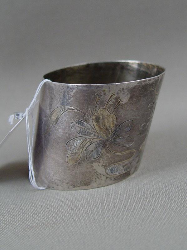 Кольцо длясалфетки, серебро 84пробы, гравировка, общий вес— 33г