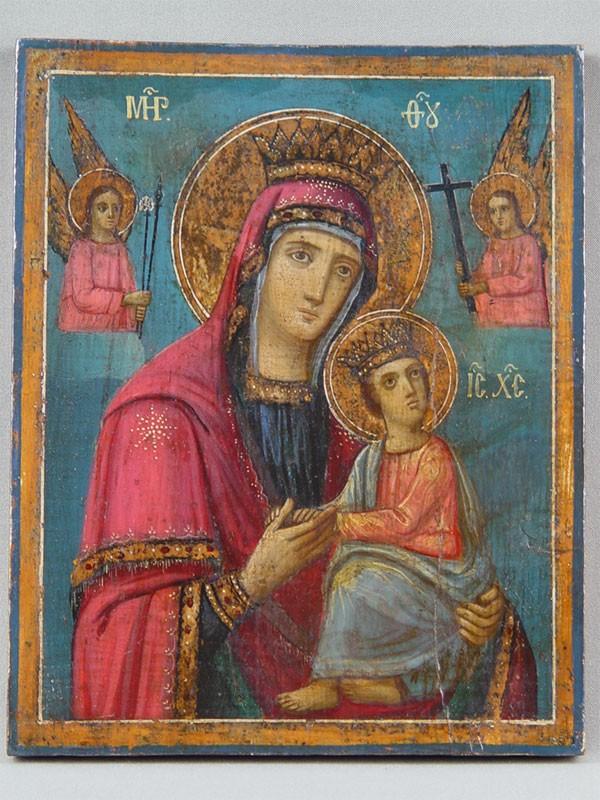 Икона «Пресвятая Богородица Страстная», дерево, масло, 25×20см, XIXв.