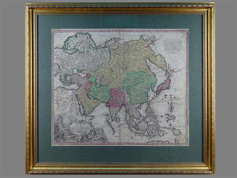 Карта Азии, бумага, гравюра. XVIIIвек, размер: 70×70см