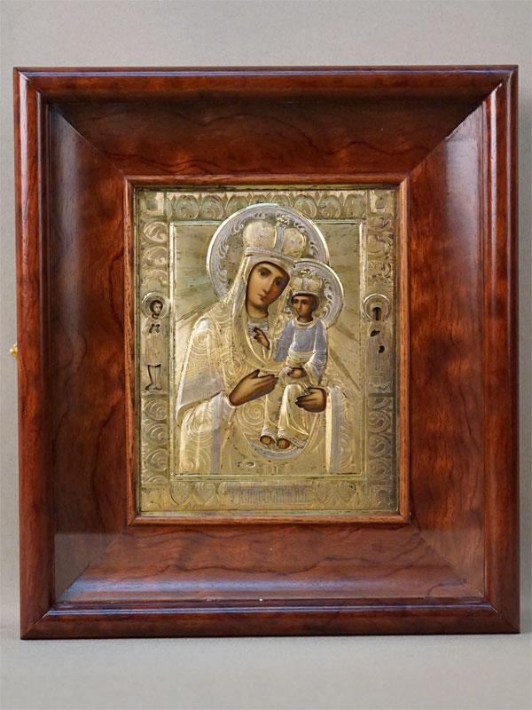 Икона «Пресвятая Богородица Тамбовская», дерево, масло, XIXв., 18×15см; оклад— серебро 84пробы; киот