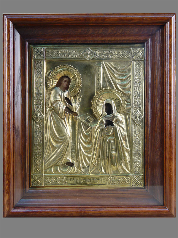 Икона «Благовещение Пресвятой Богородицы», дерево, масло; оклад— латунь; XIXвек, размер: 27×22см
