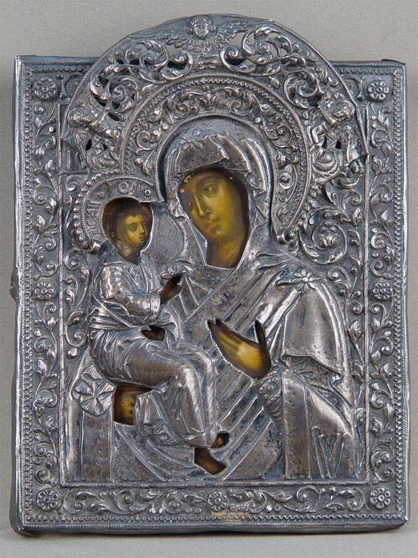 Икона «Пресвятая Богородица Иерусалимская», дерево, левкас, темпера; оклад серебро 84пробы, Москва, 1740год; размер 19×16см