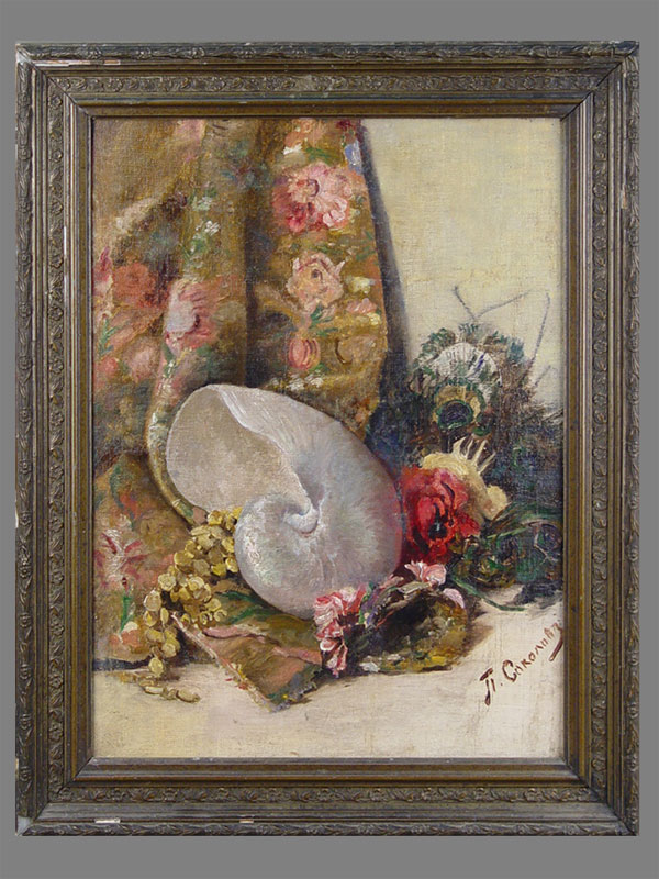 П.Соколов, «Натюрморт сморской раковиной», холст накартоне, масло, 50,5×38см, начало XXвека