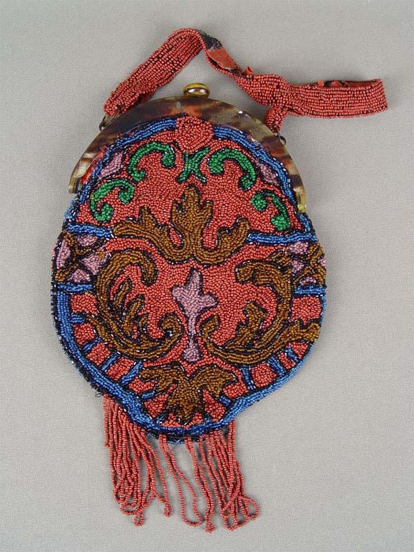 Сумочка дамская «Красный узор», бисер, пластик, начало XXвека, 20×16см