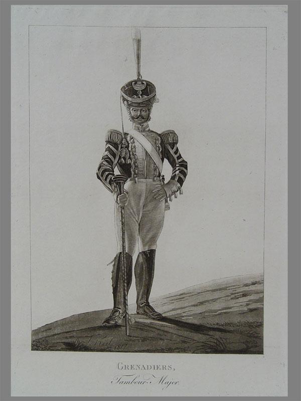 Военные музыканты ибарабанщики. Гравюры (лавис). Рисовал Киль, Л.И. Размер оттиска 19×26см. 1. «Grenadiers. /Tambour-Major. | L. Kiel. 1817». 2. «Artillerie. Tambour. | Paul. Sc.— L. Kiel. 1817». 3. «Infanterie. | Tambour-Major. | L. Kiel. 1817». ; 4. «Infanterie. | Tambour et Mosicien. | L. Kiel. 1816». ; 5. «Grenadiers. | TambouretMusicien. | L. Kiel. 1816». Оригинал. Редкость. Киль, Лев Иванович (1789—1851), художник, гравер, литограф свиты Его Величества. Генерал-майор. Был адъютантом великого князя Константина Павловича, затем переведен всвиту Его Величества. Попоручению Николая I он изготовил целую сюиту костюмов русской армии, состоявшую из73картинок, которые были выгравированы втехнике «лавис» мастерами Леваше, Полем, Колпаковым исамим Килем (1815— 1819г.)_x000D_ Цена указана заодин лист.