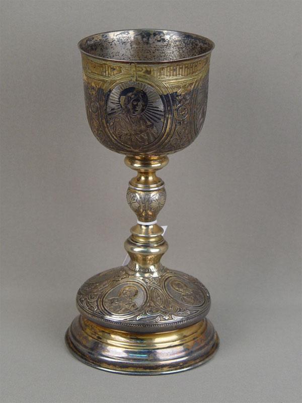 Потир, серебро 84пробы, позолота. Москва, 1887год, общий вес— 430г, высота— 23см, объем— 250мл