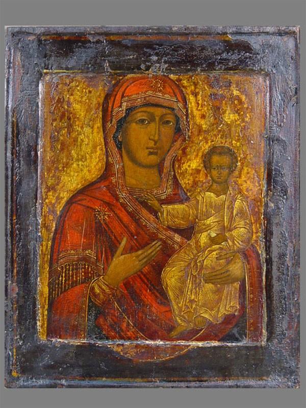 Икона «Пресвятая Богородица Смоленская», дерево, левкас, темпера. XVIIIвек, 29×23см