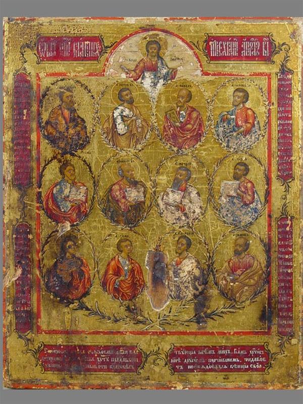 Икона «Двенадцать Апостолов», Невьянск . Дерево, левкас, темпера, 22,5×18см