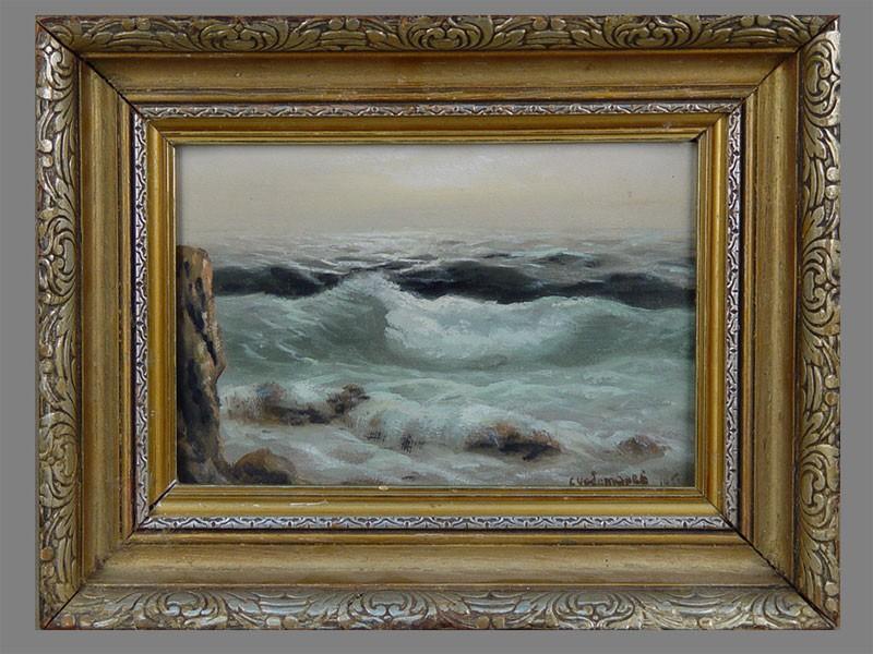 С.Чеботарев, «Волны наморе», бумага, масло, темпера, 20×19см, 1951г.