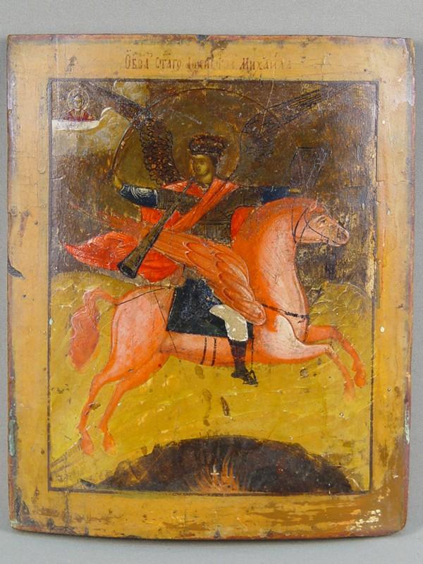 Икона «Святой Архангел Михаил», дерево, левкас, темпера, XIXв., 27×22см