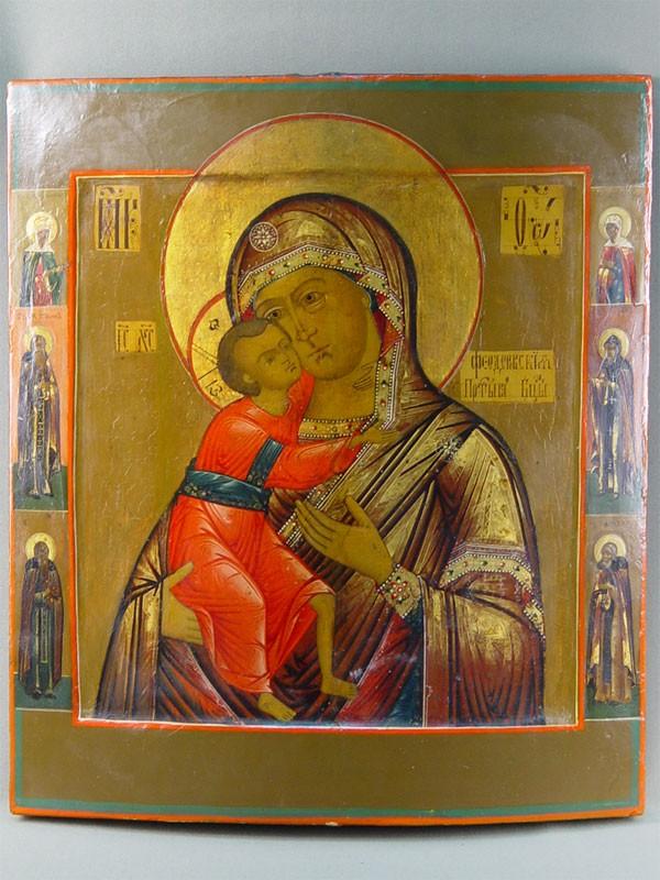 Икона «Пресвятая Богородица Федоровская спредстоящими», дерево, левкас, темпера, 44,5×39,5см