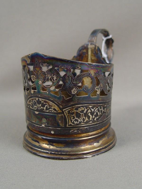 Подстаканник, серебро 875пробы, чернь, позолота, общий вес— 83г. Кубачи, середина XXвека