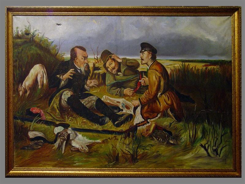 Копия картины В.Г.Перова «Охотники напривале», холст, масло, 105×158см