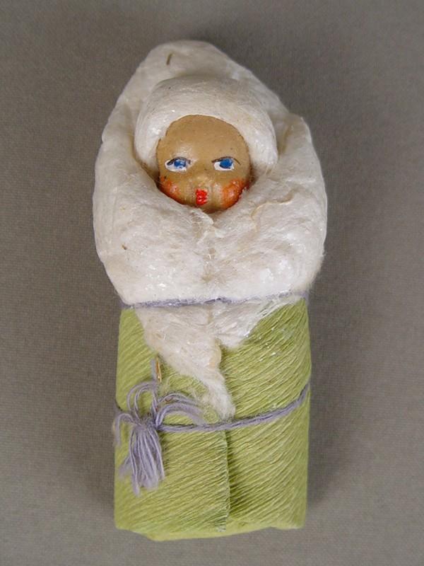 Антиквариат. антикварная Елочная игрушка «малыш», вата, папье-маше