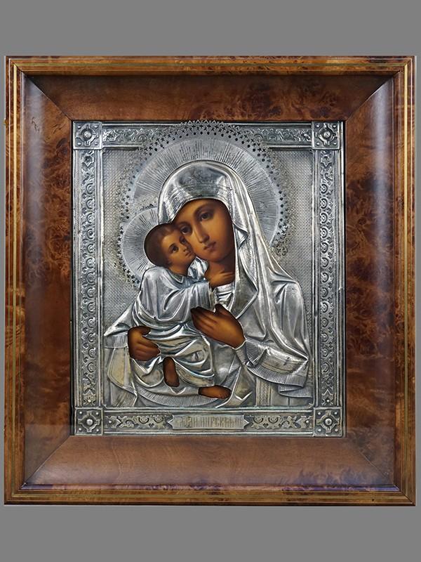 Икона «Пресвятая Богородица Владимирская», дерево, масло, оклад— серебро 84пробы, Москва, 1892г; 31×26см