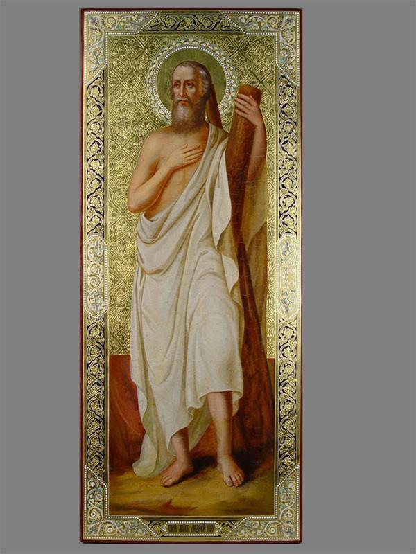 Икона «Святой Андрей Первозванный», дерево, масло, золочение, XIXвек, размер: 93×39см, поновленное золото.