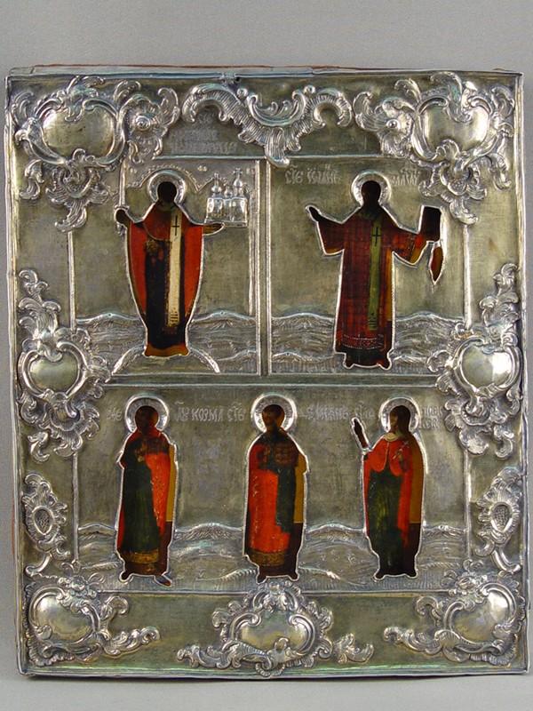 Икона «Святые Николай Можайский, Иоанн Златоуст, Козьма иДамиан, Параскева Пятница», дерево, левкас, темпера, XVIIвек, оклад— серебро, размер: 31×27см, 1776год