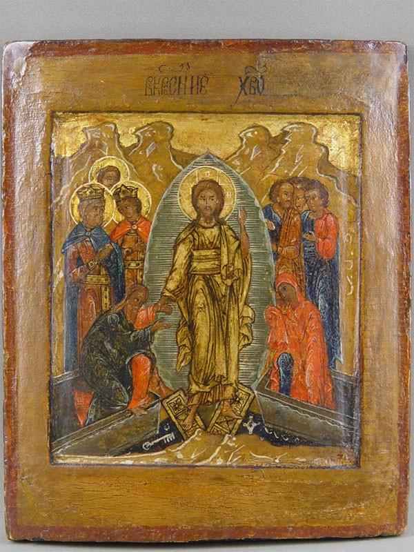 Икона «Воскресение Христово. Сошествие воад», дерево, левкас, темпера. Поволжье, конецXVIвека, размер:28,2×23,1см.